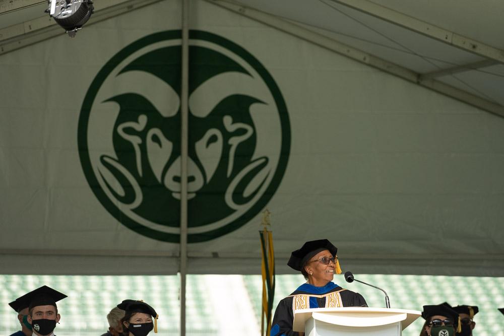 Blanche Hughes at podium