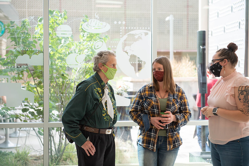 The new sculpture of CSU professor of animal sciences and animal behaviorist Temple Grandin is the first sculpture of a female on the CSU campus.