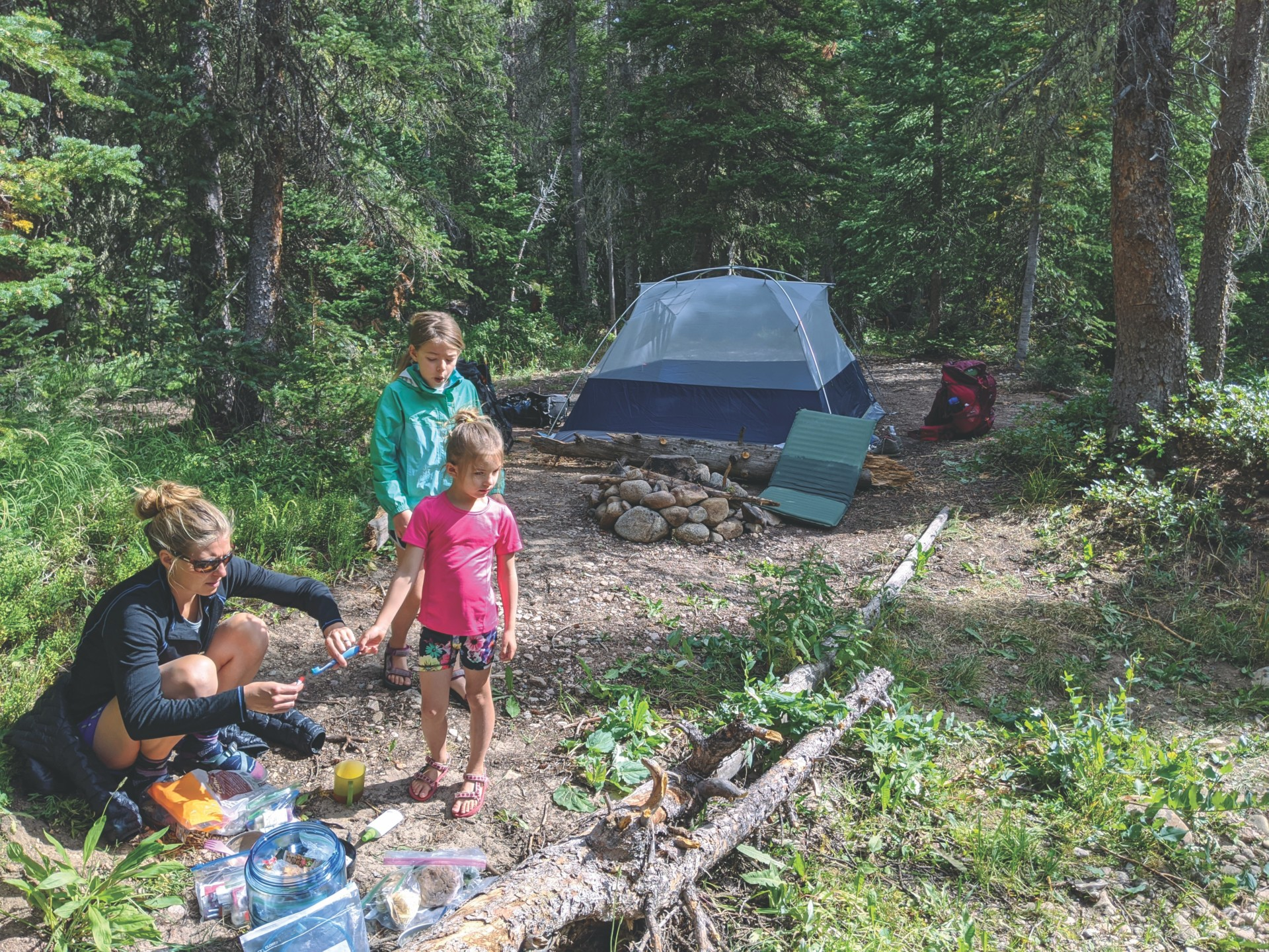 Fischer camping with her kids
