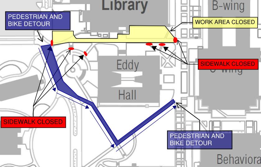 MORGAN LIBRARY EDDY HALL CLOSURE MAP