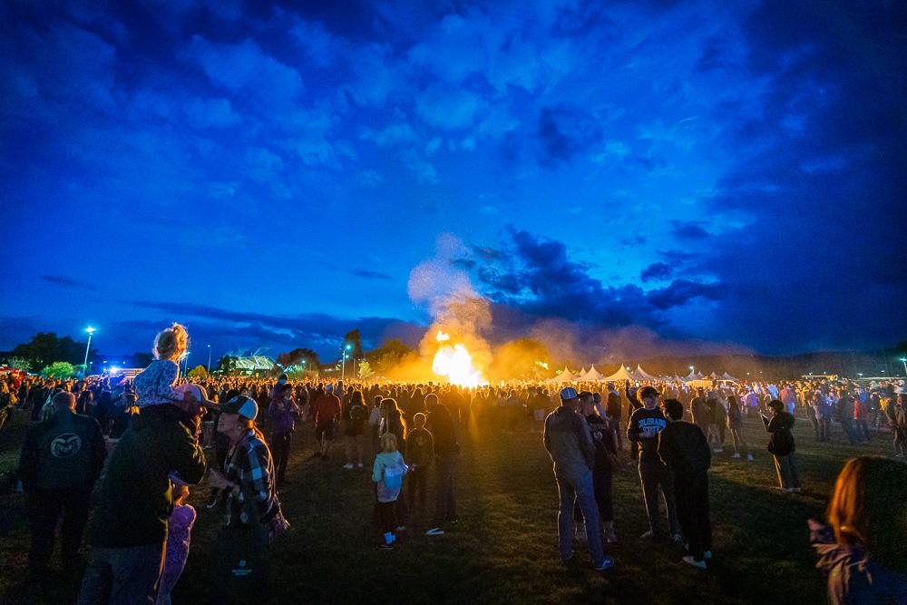 Crowd at the homecoming bonfire