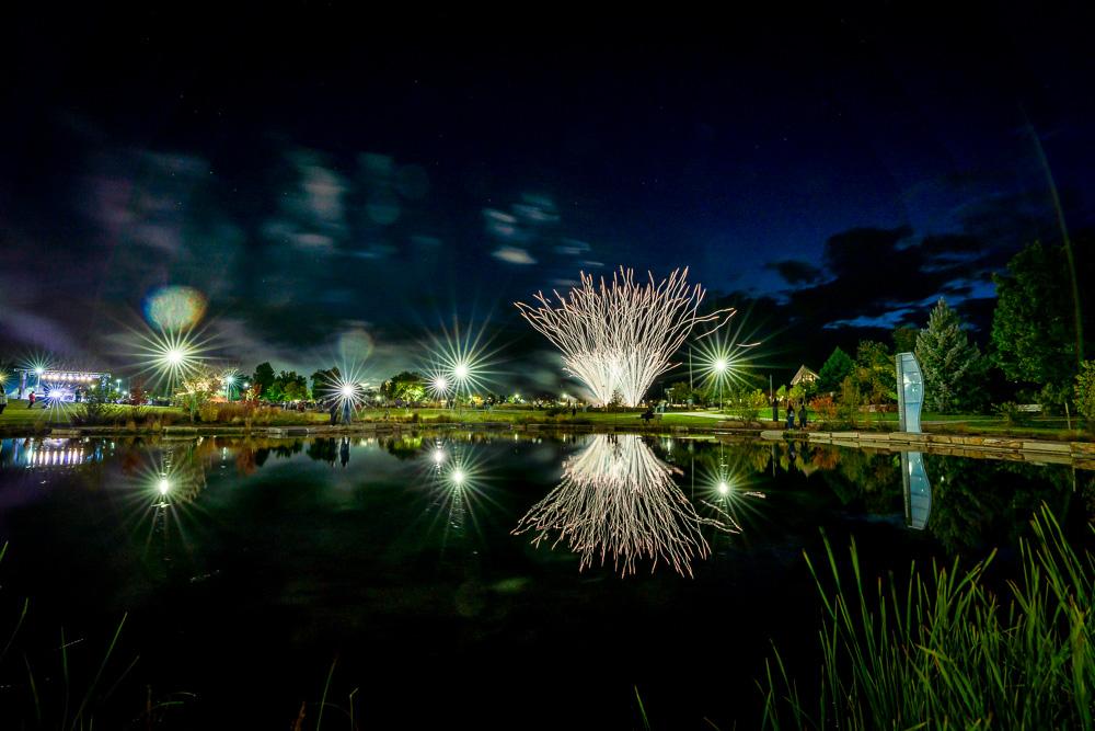 Homecoming bonfire fireworks