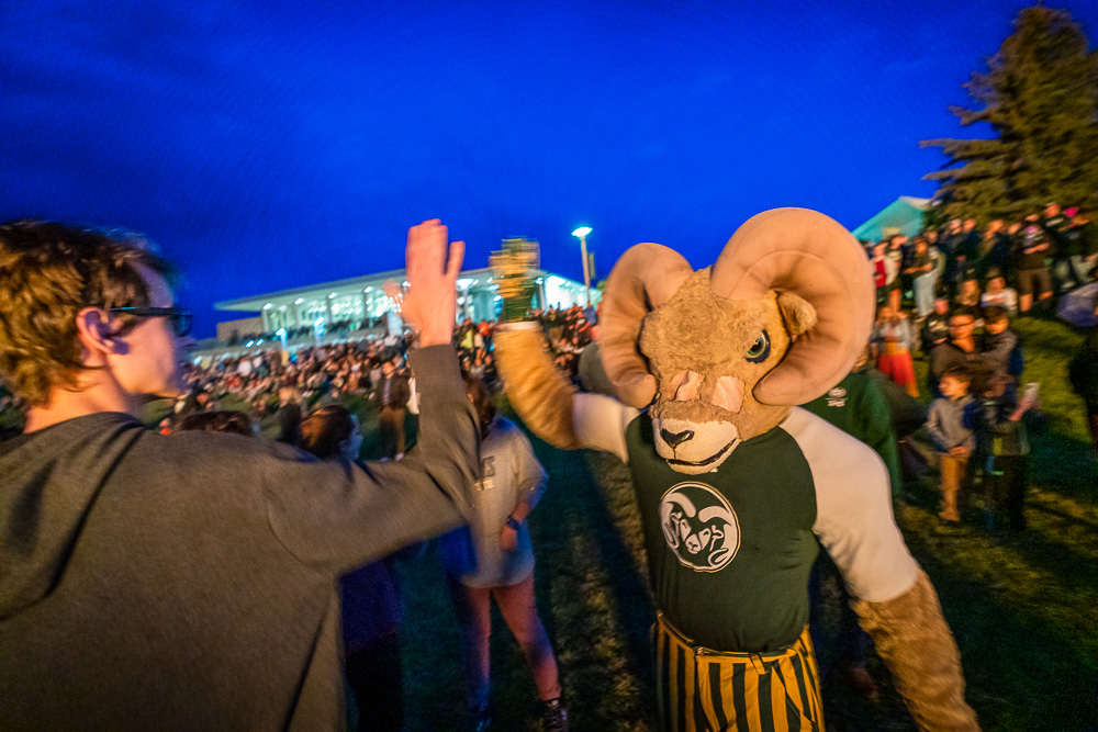 Cam the Ram at the homecoming bonfire