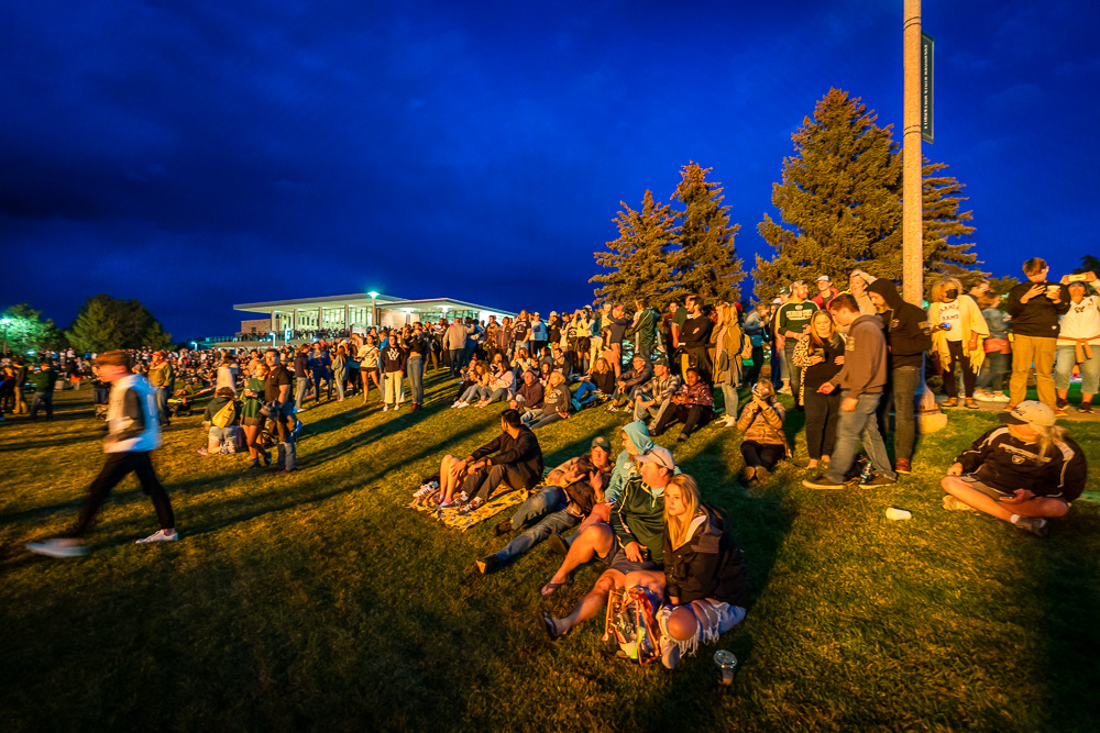 The crowd at the homecoming bonfire