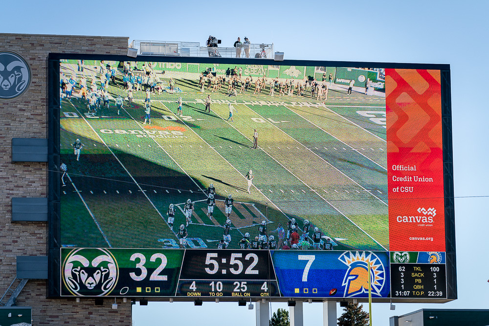 Big screen at Canvas Stadium